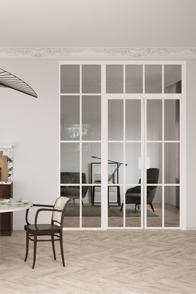 Glass wall with hinge side fixed panel, pair door and upper window Bläk 723 Paris