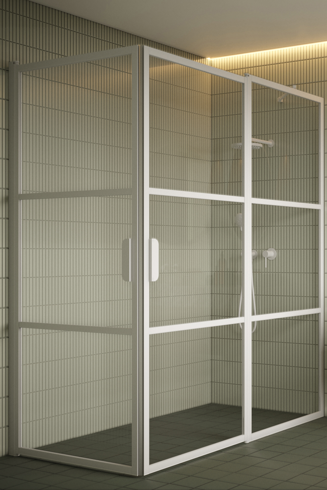 Shower enclosure with hinged doors one of which has a fixed part Bläk 763 Tokyo