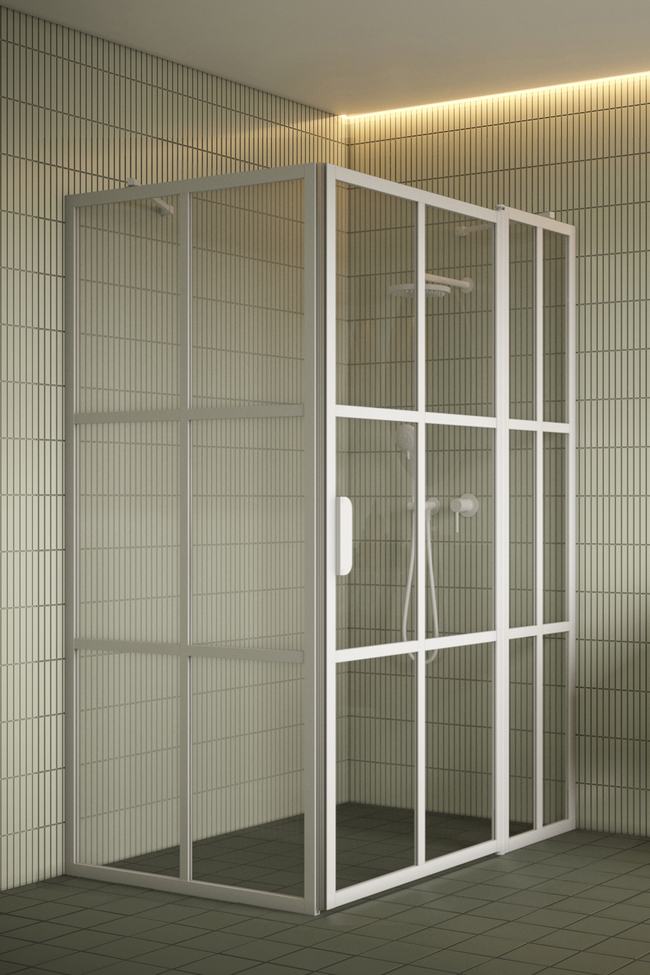 Shower enclosure with a fixed wall and a hinged door with a fixed part Bläk 766 Paris