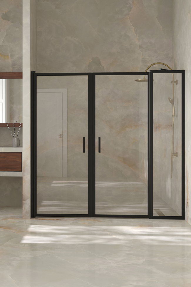 Alcove fitting with a hinged double door, one of which has a fixed part Bläk 743 New York