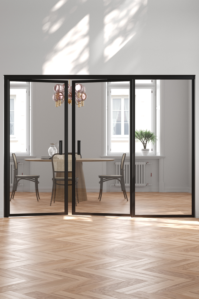 Glass wall with hinge side fixed panel and pair door Bläk 776 New York