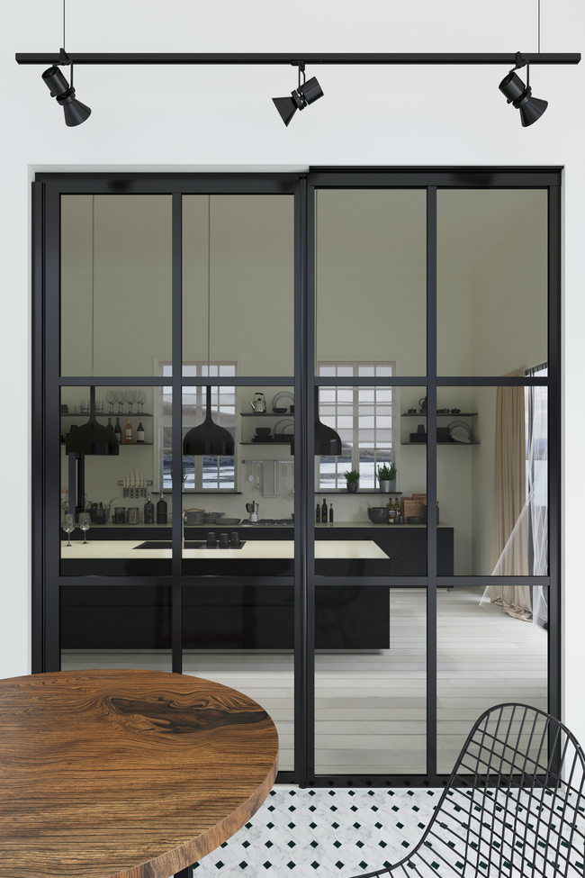 Glass wall with fixed panel on hinge side Bläk 799 Paris