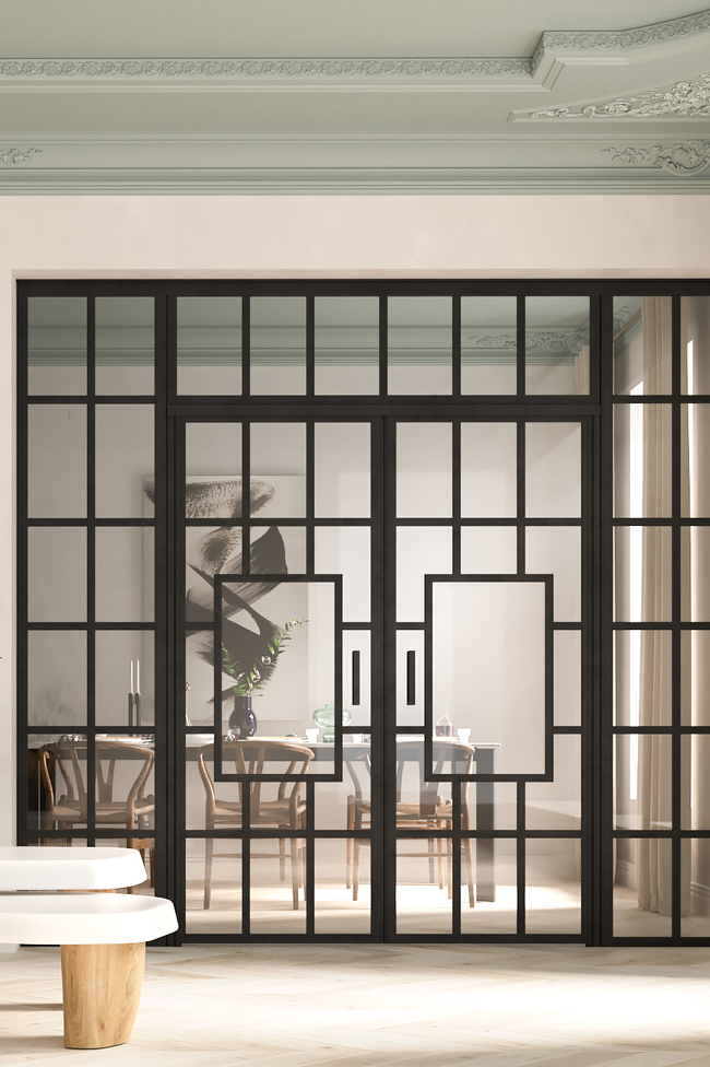 Glass wall with fixed panels on hinge and handle side, a double door and upper window Bläk 807 Shanghai