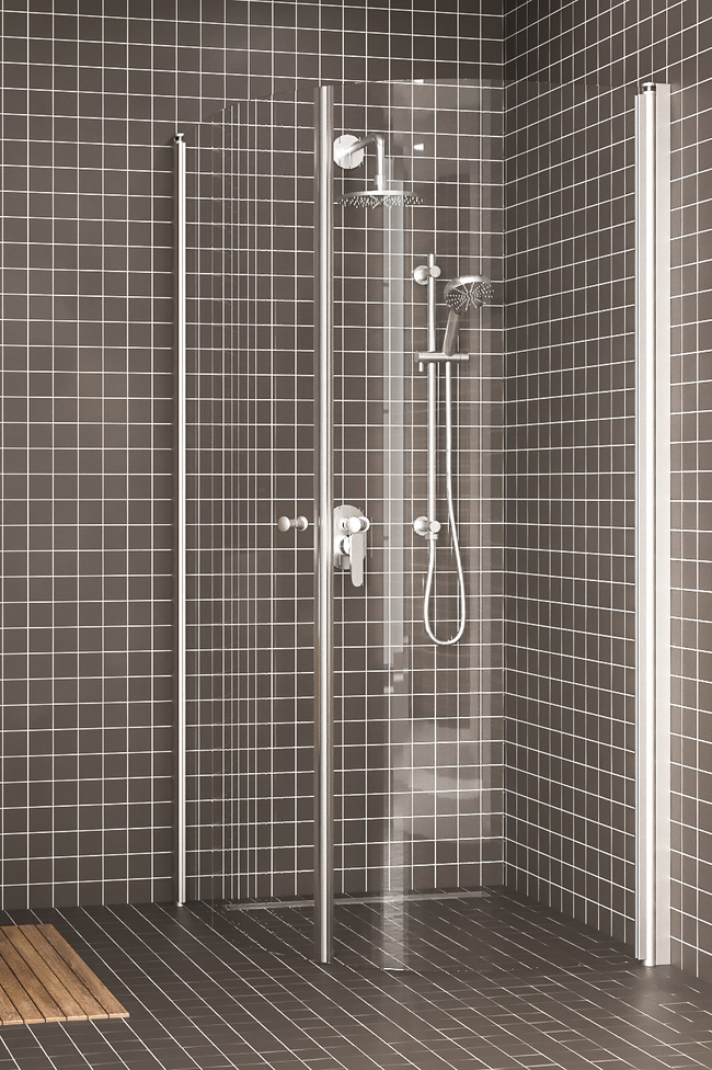 Curved shower enclosure with hinged doors Express 855 (822x822)