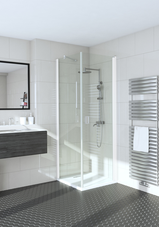 Shower enclosure with a fixed wall and hinged door Fenic 353 (311x312)