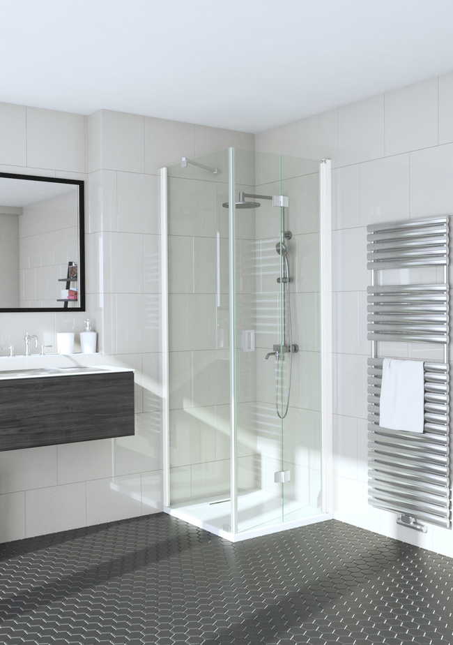 Shower enclosure with a fixed wall and hinged door Fenic 354 (311x313)