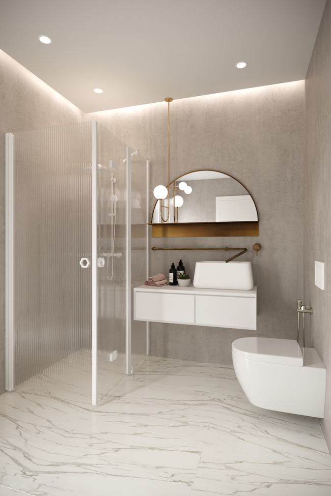 Shower enclosure with a hinged door and a folding door with a fixed part Forma 375