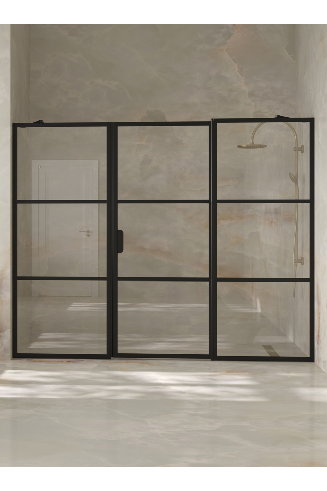 Alcove fitting with a fixed wall and hinged door which has a fixed part Bläk 746 Tokyo