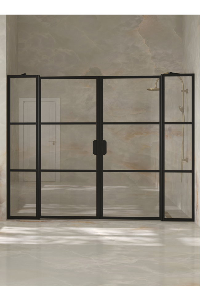 Alcove fitting with a hinged double door with fixed parts Bläk 749 Tokyo
