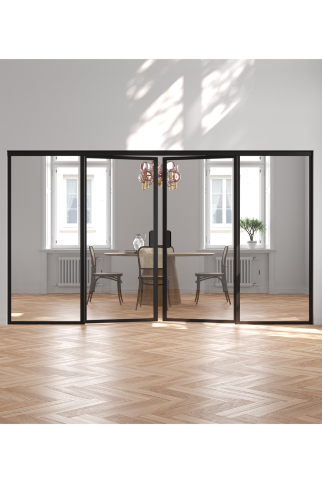 Glass wall with fixed panels on hinge and handle side and a double door Bläk 777 New York