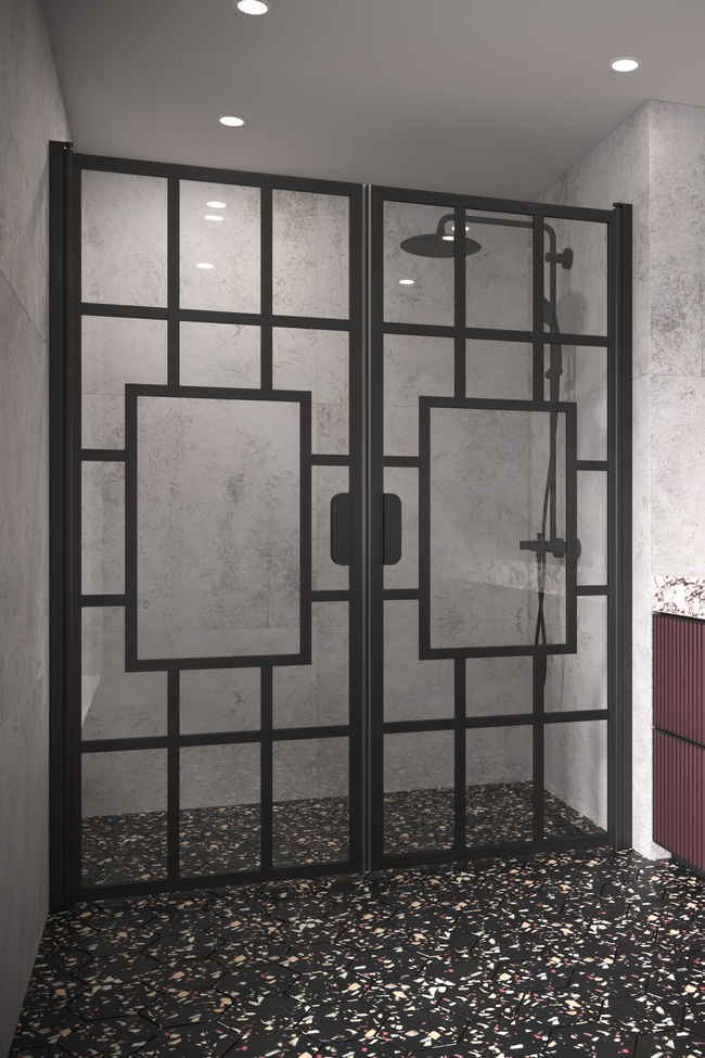 Alcove fitting with a hinged double door Bläk 803 Shanghai