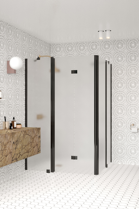 Shower enclosure with a hinged and a folding door with fixed parts Infinia 263 (214x215)