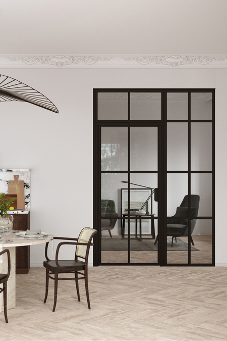 Glass wall with fixed panel on handle side and upper window Bläk 709 Paris