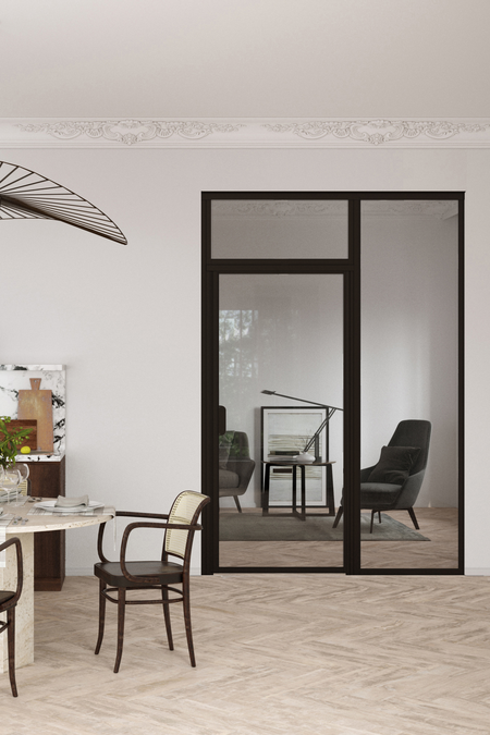 Glass wall with fixed panel on hinge side and upper window Bläk 718 New York