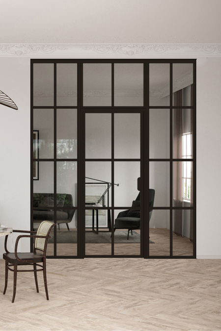 Glass wall with fixed panels on hinge and handle side and upper window Bläk 726 Paris