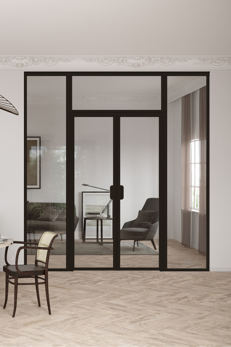 Glass wall with fixed panels on hinge and handle side, a double door and upper window Bläk 727 New York