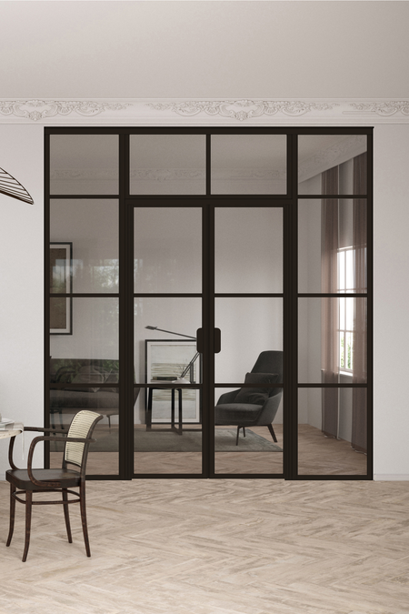 Glass wall with fixed panels on hinge and handle side, a double door and upper window Bläk 728 Tokyo