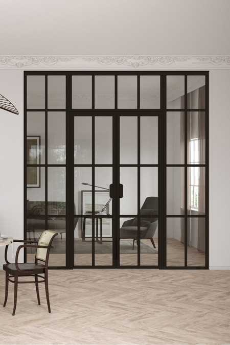 Glass wall with fixed panels on hinge and handle side, a double door and upper window Bläk 729 Paris