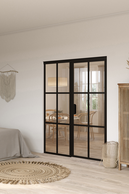 Glass wall with fixed panel on handle side Bläk 783 Paris