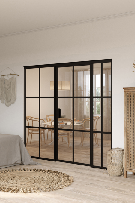 Glass wall with fixed panels on hinge and handle side Bläk 784 Paris