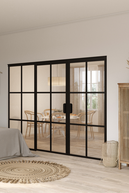 Glass wall with hinge side fixed panel and pair door Bläk 786 Paris
