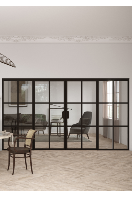 Glass wall with fixed panels on hinge side and a double door Bläk 787 Paris