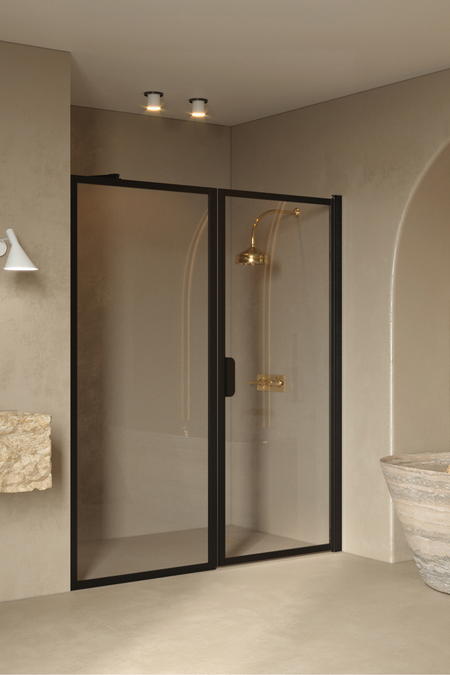 Alcove fitting with a fixed wall and hinged door Bläk 740 New York