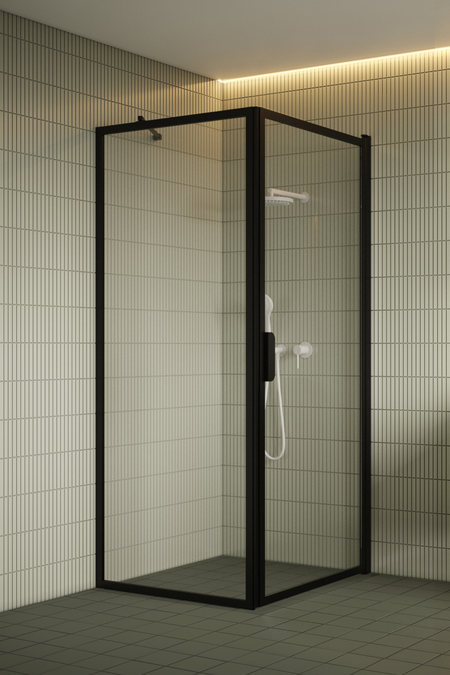 Shower enclosure with a fixed wall and hinged door Bläk 755 New York