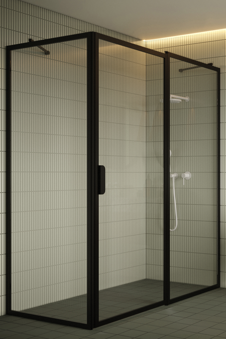 Shower enclosure with a fixed wall and a hinged door with a fixed part Bläk 756 New York