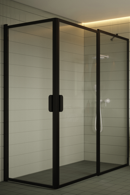 Shower enclosure with hinged doors one of which has a fixed part Bläk 758 New York