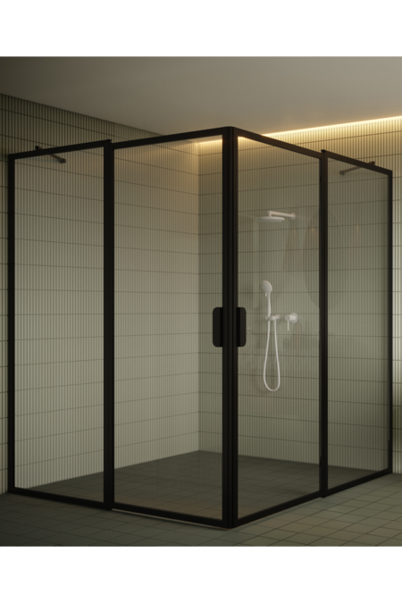 Shower enclosure with hinged doors with fixed parts Bläk 759 New York