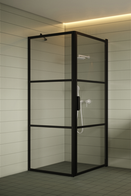 Shower enclosure with a fixed wall and hinged door Bläk 760 Tokyo