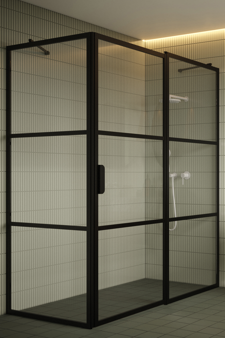 Shower enclosure with a fixed wall and a hinged door with a fixed part Bläk 761 Tokyo