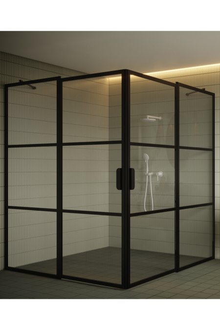 Shower enclosure with hinged doors with fixed parts Bläk 764 Tokyo