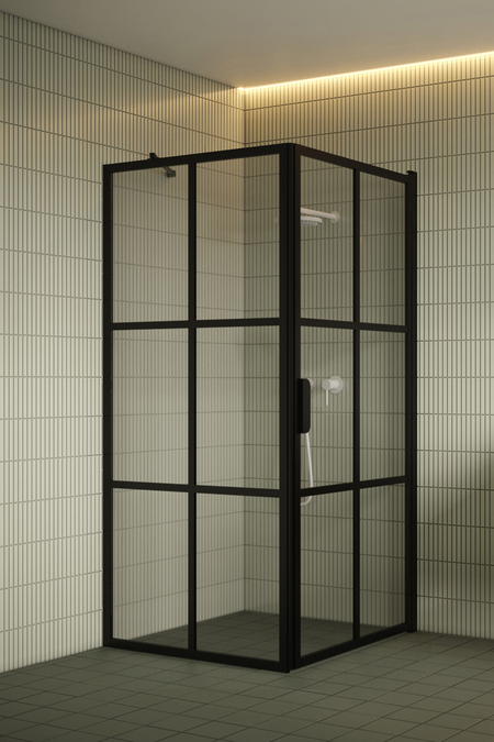 Shower enclosure with a fixed wall and hinged door Bläk 765 Paris