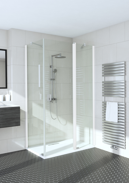 Shower enclosure with a fixed wall and a hinged door with a fixed part Fenic 355 (311x314)