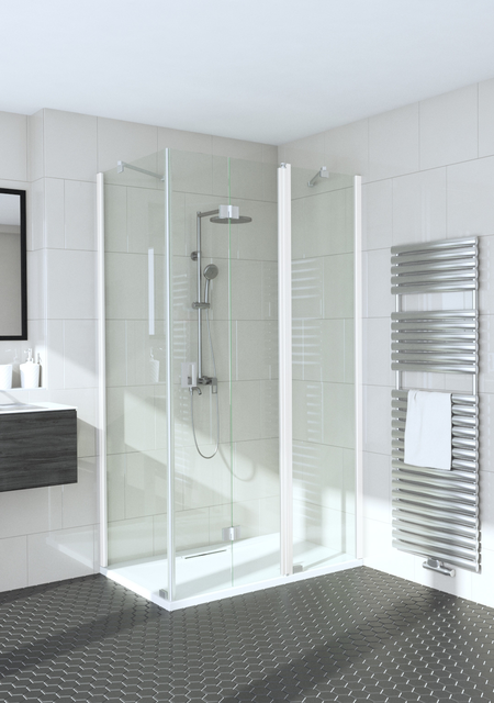 Shower enclosure with a fixed wall and a folding door with a fixed part Fenic 356 (311x315)
