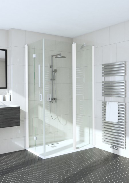 Shower enclosure with a folding door and a hinged door with a fixed part Fenic 362 (313x314)