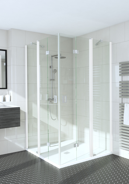 Shower enclosure with folding doors one of which have fixed parts Fenic 366 (315x315)