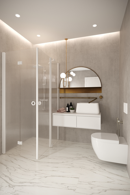 Shower enclosure with a folding door and a hinged door with a fixed part Forma 377