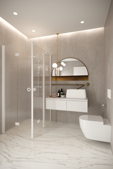 Shower enclosure with folding doors one of which has a fixed part Forma 378