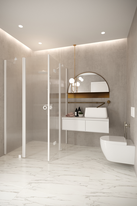 Shower enclosure with a hinged and a folding door with fixed parts Forma 380