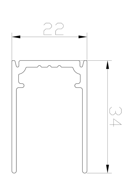 1877mm U-profile for fixed panel