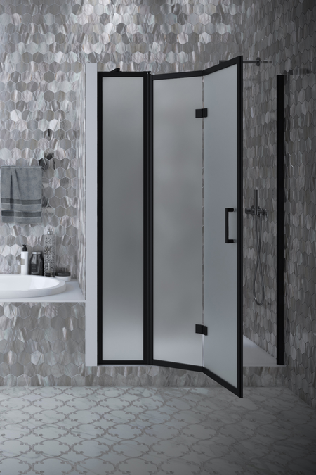 Folding shower door with a fixed part and magnet lock Bläk 89W New York