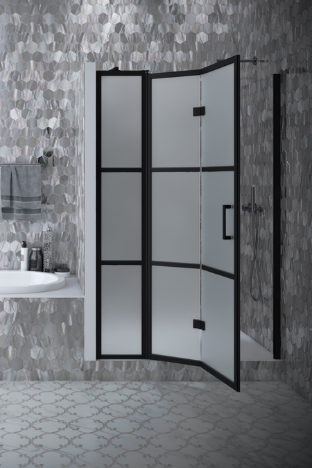 Folding shower door with a fixed part and magnet lock Bläk 89X Tokyo