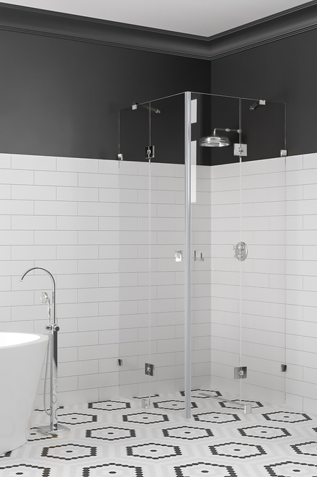 Shower enclosure with hinged doors with fixed parts Vetro 548 (514x514)