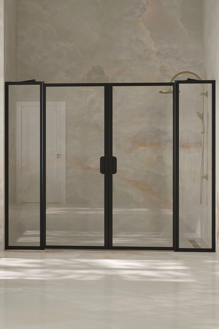 Alcove fitting with a hinged double door with fixed parts Bläk 744 New York