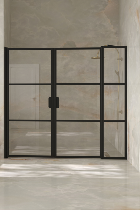 Alcove fitting with a hinged double door, one of which has a fixed part Bläk 748 Tokyo