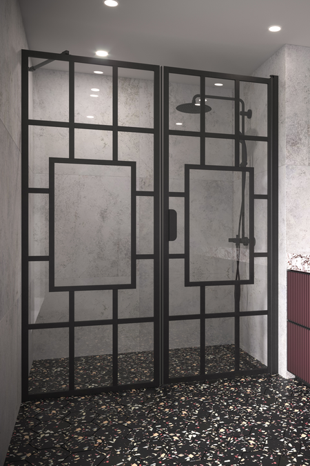 Alcove fitting with a fixed wall and hinged door Bläk 805 Shanghai
