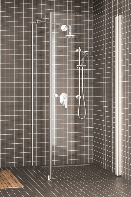 Shower enclosure with a fixed wall and hinged door Express 846 (811x812)